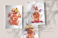3 watercolor Halloween pumpkin clipart. Halloween poster Product Image 2