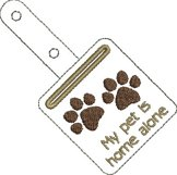 ITH Pet Home Alone Paw Print Key Fob with Pocket - Snap Tab Machine Embroidery Product Image 2