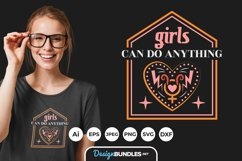 Girls Can Do Anything Hand Drawn Lettering SVG Product Image 1
