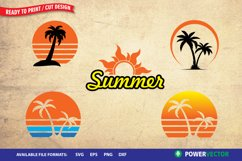 Summer Clipart Set SVG - Sunset, Palm Tree Vector Art Product Image 2