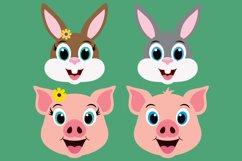 Barnyard Animal Clipart Bundle, Happy Faces, PNG, JPEG, EPS Product Image 4
