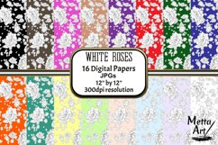 White Roses - 16 Digital Papers/Backgrounds Product Image 1