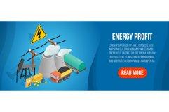 Energy profit concept banner, isometric style Product Image 1