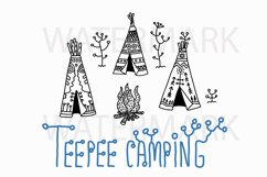 Teepee Camping Ground - SVG/JPG/PNG Hand Drawing Product Image 1
