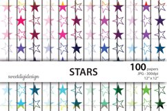 Seamless colored stars digital paper Product Image 1