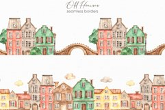 Old houses watercolor clipart Product Image 7