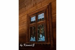 Vintage brown wooden window Antique building exterior detail Product Image 1