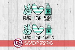 Peace Love Sanitize | Peace Love Clean Hands SVG DXF EPS PNG Product Image 1