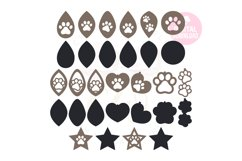 Paw Print Earring Template |60 Templates Earring svg Product Image 2