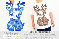 Christmas Reindeer paper cut SVG DXF EPS files Product Image 1