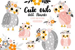 Cute owls with flowers. Product Image 1