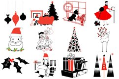 Retro Mid Century Black and Red Christmas AI EPS PNG Product Image 3