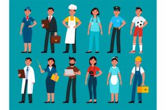 Professionals. Builder and policeman, stewardess and teacher Product Image 1
