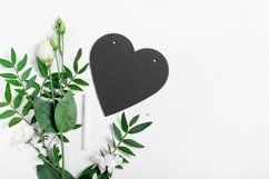 Chalkboard heart, flowers and leaves on white.Valentines Day Product Image 1