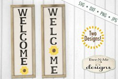 Welcome Sunflower Vertical Porch Sign SVG Cut File Product Image 1