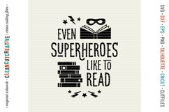 Even SUPERHEROES like to READ! - Cricut Silhouette cut file Product Image 3