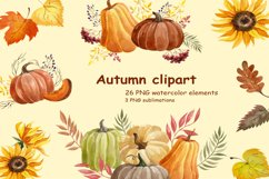 Watercolor Autumn clipart Product Image 1