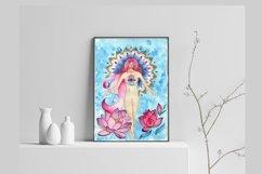 girl and lotuses, mandala, goddess of love,Digital print Product Image 4