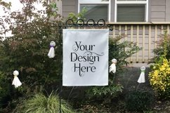 Yard Flag Mockups for Halloween, White & Burlap Flag Mock-Up Product Image 2