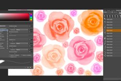 Watercolor roses flowers and leaves Photoshop Brushes Product Image 4