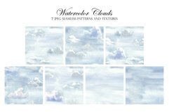 Watercolor Sky and Clouds. Patterns, Illustrations, Cliparts Product Image 2