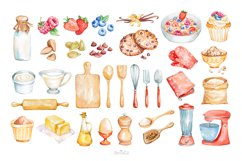 Baking Watercolor Clipart. Kitchen clipart. PNG Product Image 4