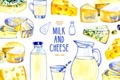Milk and cheese - watercolor clipart Product Image 1