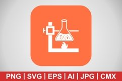 Vector Fire Under Flask Icon Product Image 1