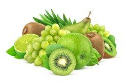 Green fruits isolated on white background Product Image 1