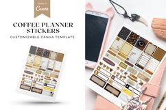 Coffee Lover Planner Stickers Canva Template, Customizable Product Image 1