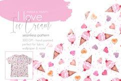 I love Ice Cream & Hearts Seamless Pattern Design Product Image 1