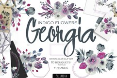 Georgia. Indigo floral bouquets. Product Image 1
