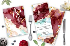 Burgundy and Gold Watercolor Wedding Invitation suite Product Image 2