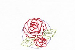 Floral Circle Rose Outline Machine Embroidery Design Product Image 2
