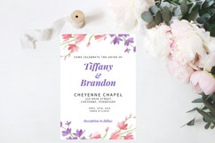 Pink and Purple Watercolor Floral Wedding Invitation Product Image 1