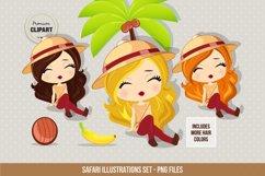 Travel clipart, Safari girl illustrations Product Image 1