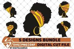 5x Black Woman Bundle SVG, Afro Girl svg, hair band SVG Product Image 1