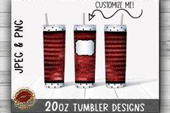 Sublimation 20oz Tumbler Wrap Red & Polka Dot Glitter & Foil Product Image 1