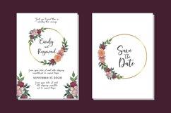 Flower Watercolor Wedding Invitation Elegant SVG Template Product Image 1