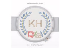 Back to school monogram wreath font border OUTLINE STITCH Product Image 1