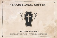 Coffin on Tea dyed Flash Paper AI Product Image 1