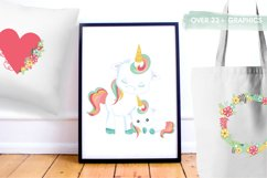 Floral unicorn graphics and illustrations Product Image 5