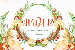 Amber forest. Fall watercolor clipart Product Image 1