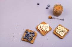 Healthy vegetarian breakfast with peanut butter Product Image 1