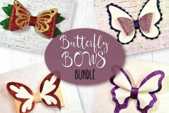 4 Hair bow template SVG, Butterfly faux leather bow template Product Image 1