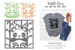Panda paper cut designs. SVG / DXF / EPS / PNG Files Product Image 1