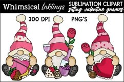 Sitting Valentine Gnome Trio Sublimation Clipart Product Image 1