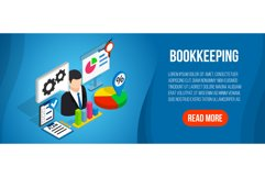 Bookkeeping concept banner, isometric style Product Image 1