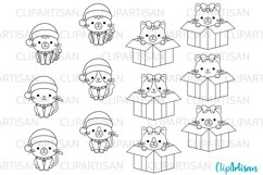 Christmas Cats Clipart Merry Christmas kittens Stamps Product Image 1