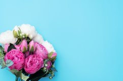 Pink and white flowers on blue background. Product Image 1